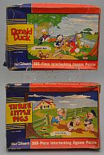 (2) VINTAGE WALT DISNEY INTERLOCKING JIG SAW PUZZLES