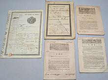 (5) MISC. 18TH CENT. & EARLY 19TH CENT. FRENCH PRINTED AND PART PRINTED DOCUMENTS
