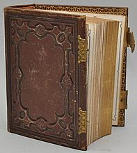 19TH CENT. VICTORIAN PHOTOGRAPH ALBUM WITH TIN TYPE AND C.D.V. PORTRAIT PHOTOGRAPHS
