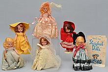 COLLECTION OF (6) MISC. NANCY ANN STORYBOOK DOLLS AND BROCHURE