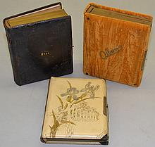 (3) 19TH CENT. VICTORIAN PHOTOGRAPH ALBUMS WITH CABINET PHOTOGRAPHS, C.D.V.'S & TIN TYPES