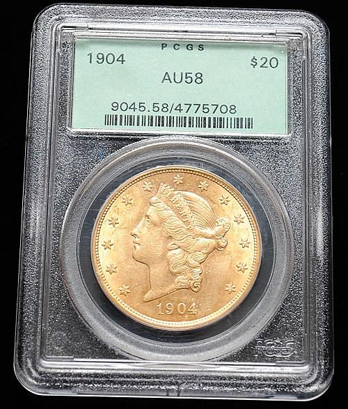 GRADED 1904 U.S. GOLD LIBERTY HEAD $20 COIN