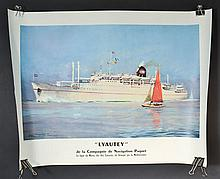 FRENCH COLOR LITHOGRAPH POSTER OF THE STEAM SHIP LYAUTEY