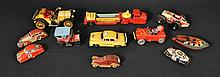 (11) MISC. VINTAGE TIN LITHOGRAPH TOY VEHICLES