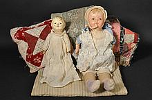 (2) VINTAGE COMPOSITION DOLLS WITH DOLL BEDDING EXTRAS