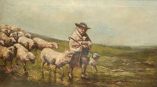 19TH CENT. BARKER OIL PAINTING OF SHEPHERD & HIS FLOCK