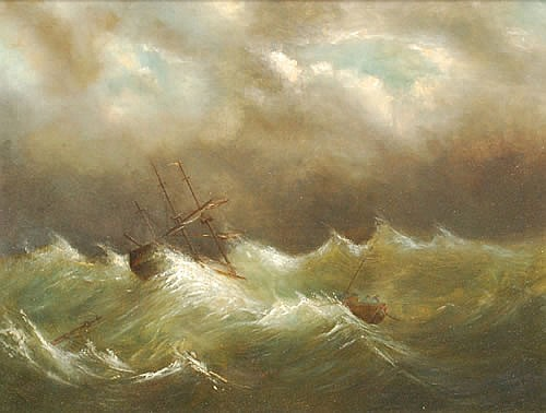 19TH CENT. SHIPWRECK OIL PAINTING