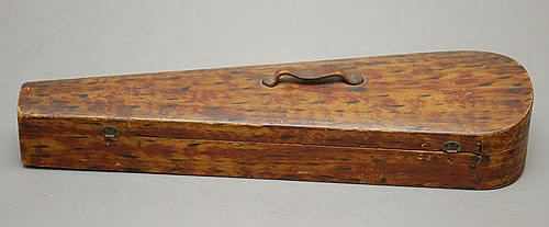 19TH CENT. NEW ENGLAND PAINT DECORATED WOODEN VIOLIN CASE