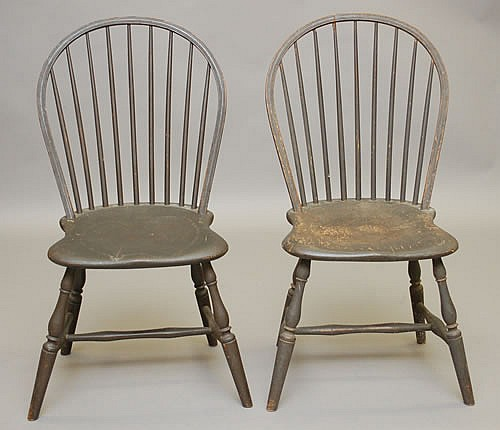 PR. 19TH CENT. NEW ENGLAND PAINTED BOWBACK WINDSOR CHAIRS