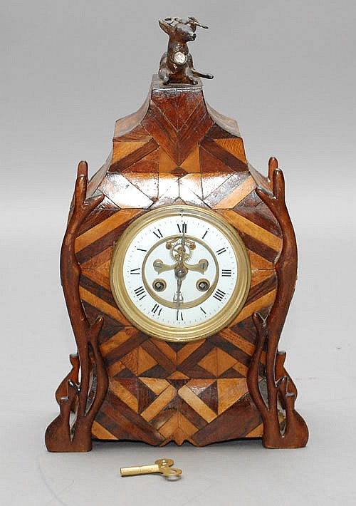 19TH CENT. EMBELLISHED BOMBE FRENCH INLAID SHELF CLOCK