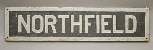 19TH-EARLY 20TH CENT. PAINTED WOODEN NORTHFIELD (MA?) PLACE SIGN