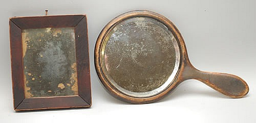 (2) SMALL 19TH & 20TH CENT. VINTAGE WOODEN MIRRORS