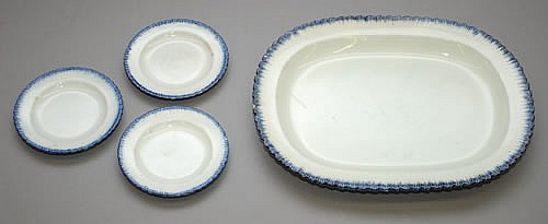 ENOCH WOODS LEEDS BLUE FEATHERED EDGE PLATTER & (3) PLATES