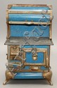 19TH CENT. KARR RANGE CO. MODEL 420 BLUE GRANITEWARE CHILDS TOY KITCHEN RANGE