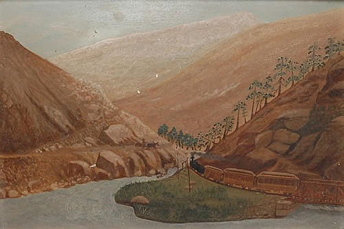 PRIMITIVE 19TH CENT. OIL PAINTING OF A RAILROAD LANDSCAPE AT LITTLE FALLS NY