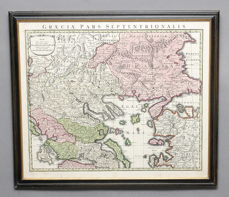 FRAMED MATTHAEUS SEUTTER 1730 COLORED MAP OF GREECE
