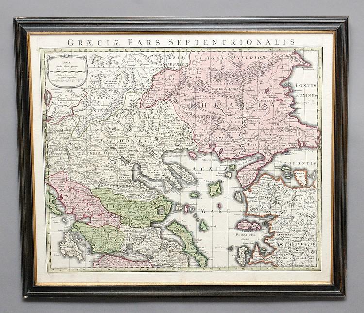 FRAMED MATTHAEUS SEUTTER 1730 COLORED MAP OF GREECE