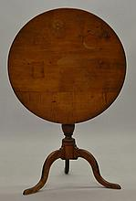 N.E. QUEEN ANNE ROUND TOP TIP TABLE