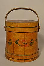 19TH CENT. PAINT DECORATED N.E. WOODEN FIRKIN BY C. WILDER - SO. HINGHAM MASS.