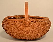 19TH CENT. - EARLY 20TH CENT. WOVEN SPLINT MELON BASKET