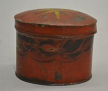 19TH CENT. RED PAINT DECORATED TIN COVERED OVAL BOX
