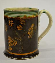 18TH CENT. - EARLY 19TH CENT. DECORATED PRATTWARE MOCHA MUG