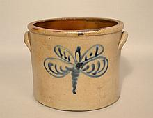 19TH CENT. GREY STONEWARE CROCK WITH DRAGONFLY DECORATION
