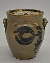 LATE 18TH CENT. - EARLY 19TH CENT. OVOID GREY STONEWARE CROCK WITH FLORAL DECORATION