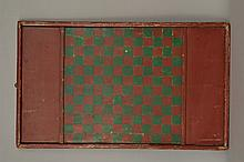 19TH CENT. N.E. PAINTED WOODEN GAME BOARD