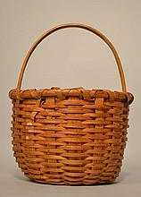 19TH CENT. - EARLY 20TH CENT. WOVEN SPLINT GATHERING BASKET