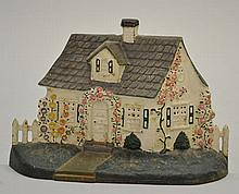 EARLY 20TH CENT. PAINTED CAST IRON CAPE COD COTTAGE WITH PICKET FENCE DOORSTOP