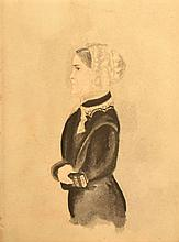 19TH CENT. BLACK INK 3/4 STYLE WATER COLOR PORTRAIT OF A WOMAN
