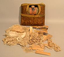 19TH CENT. CONTINENTAL LACE MAKERS PILLOW AND BOBBINS WITH LACE WORK, BOOKS AND PATTERNS