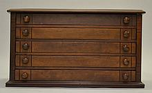 19TH CENT. VICTORIAN BLACK WALNUT (5) DRAWER SPOOL CABINET