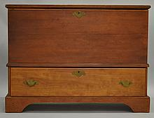 19TH CENT. N.E. COUNTRY PINE AND MAPLE (1) DRAWER BLANKET CHEST