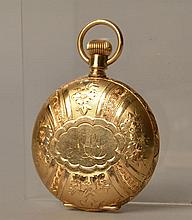 MAN'S 14K YELLOW GOLD HUNTER CASED AMERICAN WALTHAM POCKET WATCH