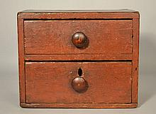 19TH CENT. N.E. PAINTED COUNTER TOP (2) DRAWER CABINET