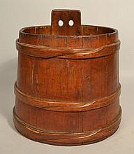 19TH CENT. N.E. BANDED WOODEN SAP BUCKET