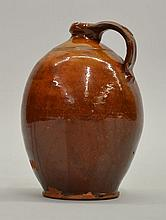 18TH CENT. N.E. OVOID REDWARE JUG