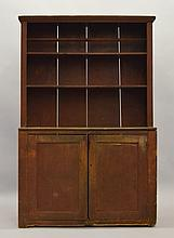 19TH CENT. N.E. PAINTED PRIMITIVE STEPBACK CUPBOARD