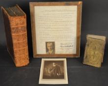 BIBLES - 2 Volumes, along with a Photo and a Framed Resolution, [Containing the Holbrook Family Record, to include Seth Nathaniel Beecher of Seymour, Conn.]
