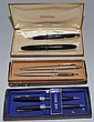 2 SHEAFFER SETS AND 1 PARKER WRITING SETS