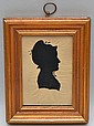 19TH CENT. N.E. CUT PAPER SILHOUETTE PORTRAIT OF A WOMAN