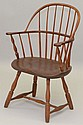 19TH CENT. N.E. SACK BACK WINDSOR ARM CHAIR