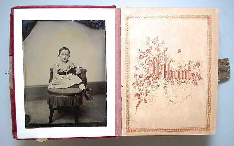 VICTORIAN PHOTOGRAPH ALBUM W/ (85) MISC. CABINET PHOTOS, TIN TYPES & CDV'S