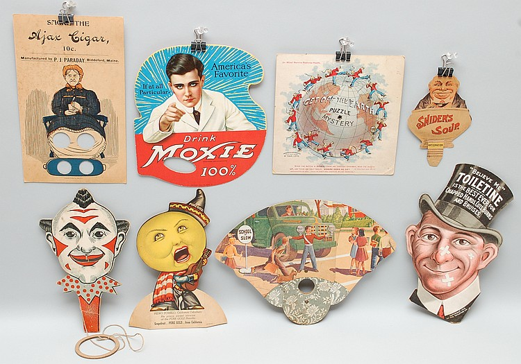 (8) MISC. 19TH-EARLY 20TH CENT. ADVERTISING HAND FANS, MECHANICAL TRADE CARDS & ADVERTISERS