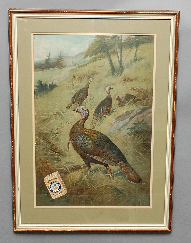 FRAMED 1907 ARM & HAMMER CHURCH & CO.'S SODA PROMOTIONAL CHROMOLITHOGRAPH OF WILD TURKEYS