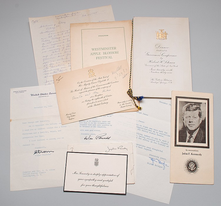 (7) MISC. PCS. POLITICAL CORRESPONDENCE INCLUDING JACQUELINE KENNEDY, STROM THURMOND & QUEEN ELIZABETH II