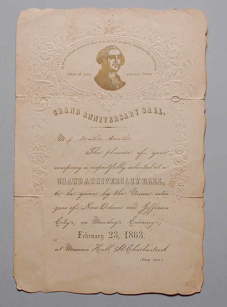 1863 NEW ORLEANS GRAND ANNIVERSARY BALL INVITATION