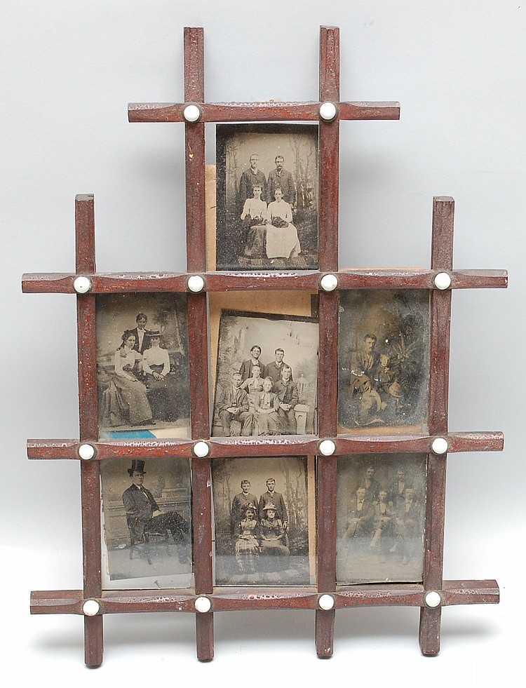 19TH CENT. 7-PART DIVIDED CRISSCROSS FRAME W/ TIN TYPE PHOTOGRAPHS